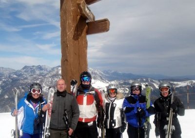 mammoth group trip 2019 members posing at the top of Mammoth Mountain, California under the sign post