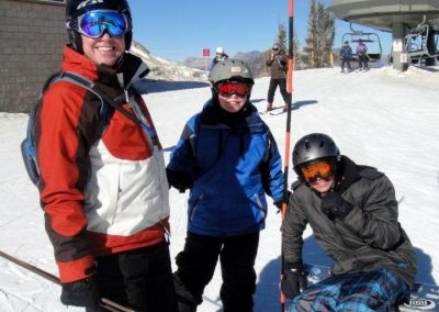 skiing group from los angeles travelling to mammoth in the snow